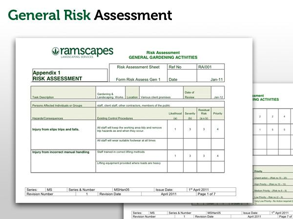 Landscape gardening risk assessment gardening forum network for Scaffolding risk assessment template